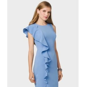 Roz and Ali Blue Ruffle Front Dress NWOT